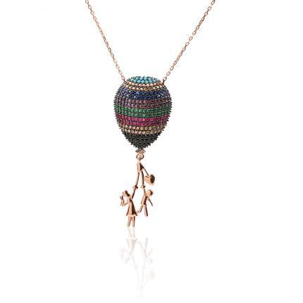Renkli Taşlı Anne Çocuk Balon Kolye (45 cm)